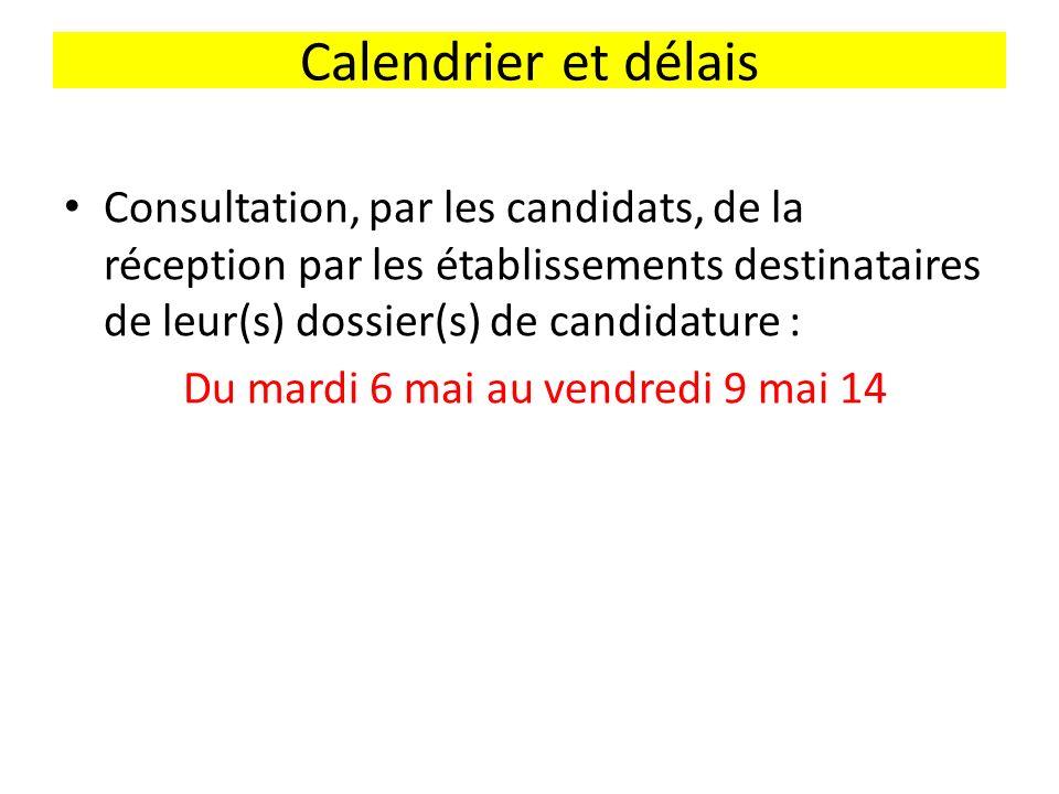 Calendrier et délais Consultation, par les candidats, de la réception par les établissements destinataires de leur(s) dossier(s) de candidature : Du mardi 6 mai au vendredi 9 mai 14