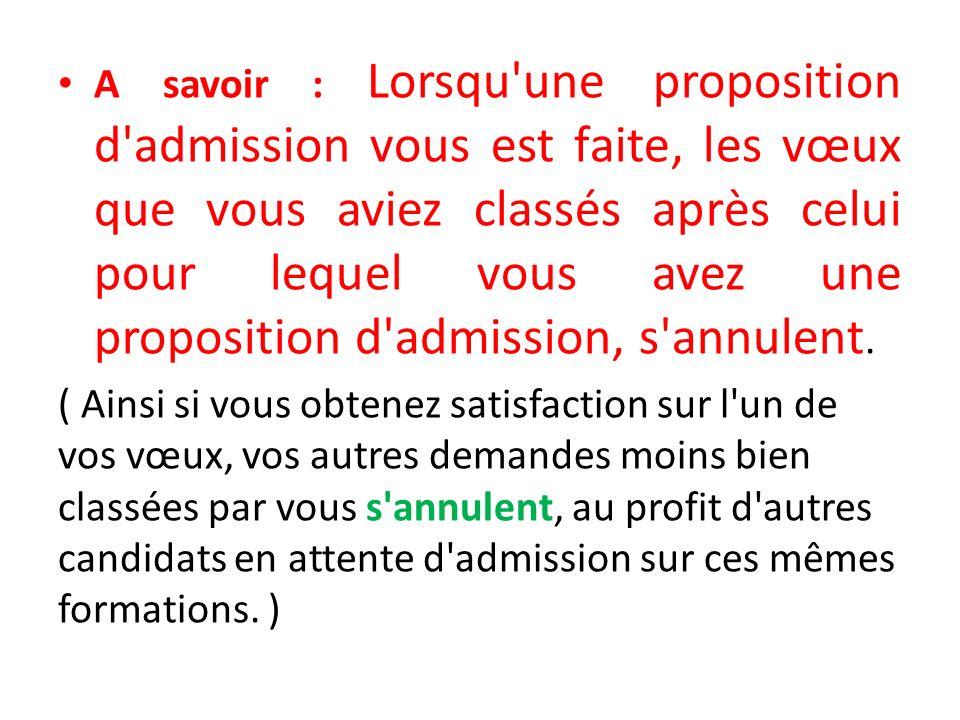 A savoir : Lorsqu une proposition d admission vous est faite, les vœux que vous aviez classés après celui pour lequel vous avez une proposition d admission, s annulent.