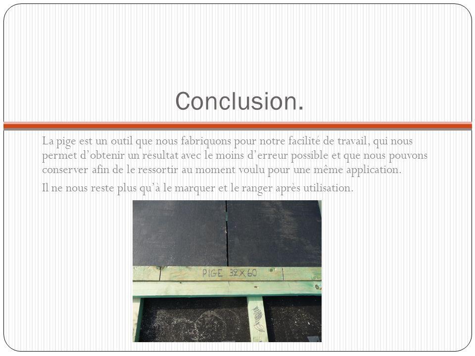 Conclusion. La pige est un outil que nous fabriquons pour notre facilité de travail, qui nous permet dobtenir un résultat avec le moins derreur possib