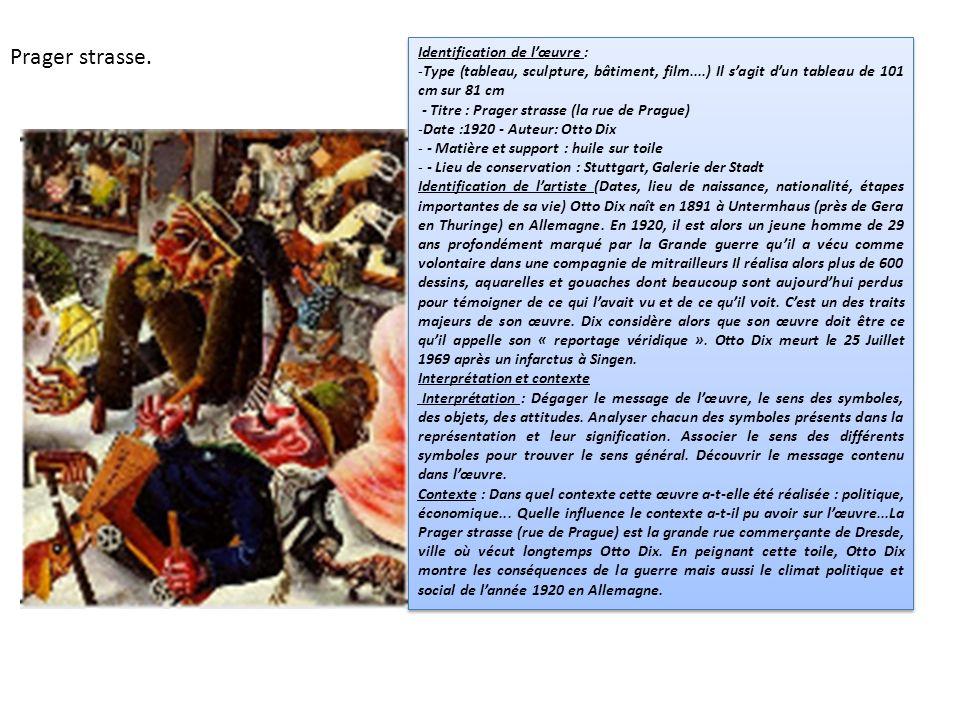 Identification de lœuvre : -Type (tableau, sculpture, bâtiment, film....) Il sagit dun tableau de 101 cm sur 81 cm - Titre : Prager strasse (la rue de