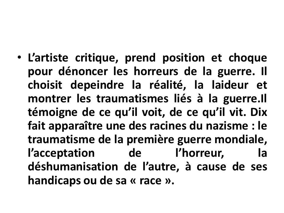 POUR ALLER PLUS LOIN Quelques ouvrages ou oeuvres ayant traité de la violence dans la guerre: –« Les joueurs de skat» (1920) ou le tryptique « La Guerre » (1929-1932), Otto DIX.