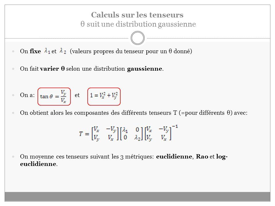 Calculs sur les tenseurs θ suit une distribution gaussienne On fixe et (valeurs propres du tenseur pour un θ donné) On fait varier θ selon une distribution gaussienne.