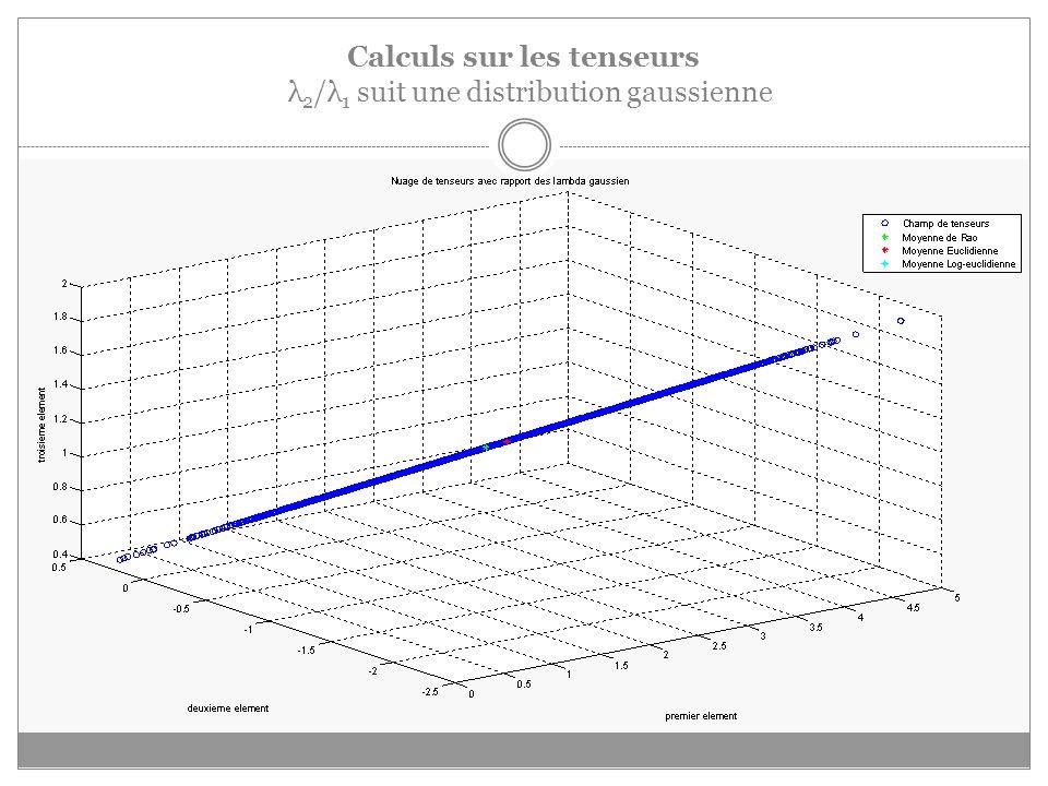 Calculs sur les tenseurs λ 2 /λ 1 suit une distribution gaussienne