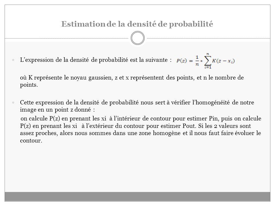 Estimation de la densité de probabilité Lexpression de la densité de probabilité est la suivante : où K représente le noyau gaussien, z et x représentent des points, et n le nombre de points.