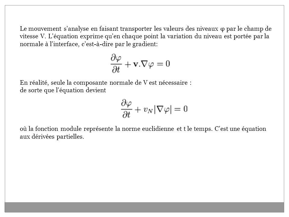 Le mouvement s analyse en faisant transporter les valeurs des niveaux φ par le champ de vitesse V.