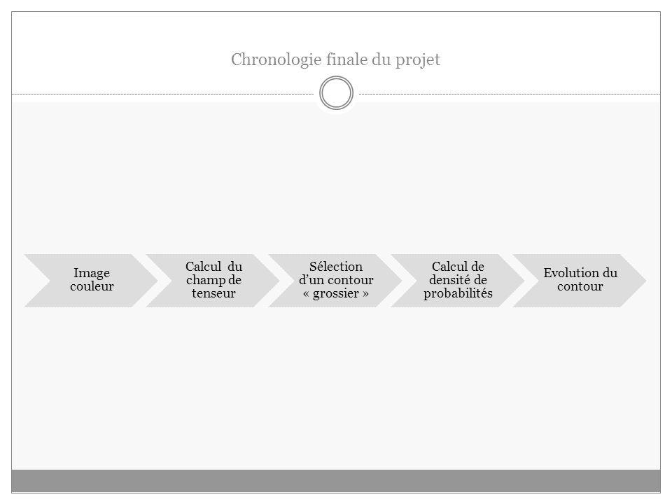 Chronologie finale du projet Image couleur Calcul du champ de tenseur Sélection dun contour « grossier » Calcul de densité de probabilités Evolution du contour