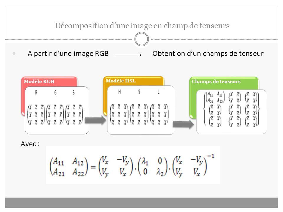 Décomposition dune image en champ de tenseurs A partir dune image RGB Obtention dun champs de tenseur Avec : Modèle RGB Modèle HSL Champs de tenseurs