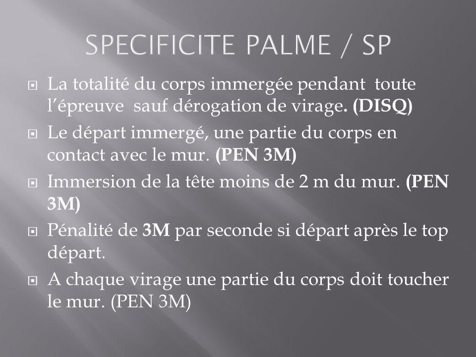 SPECIFICITE PALME / SP La totalité du corps immergée pendant toute lépreuve sauf dérogation de virage. (DISQ) Le départ immergé, une partie du corps e