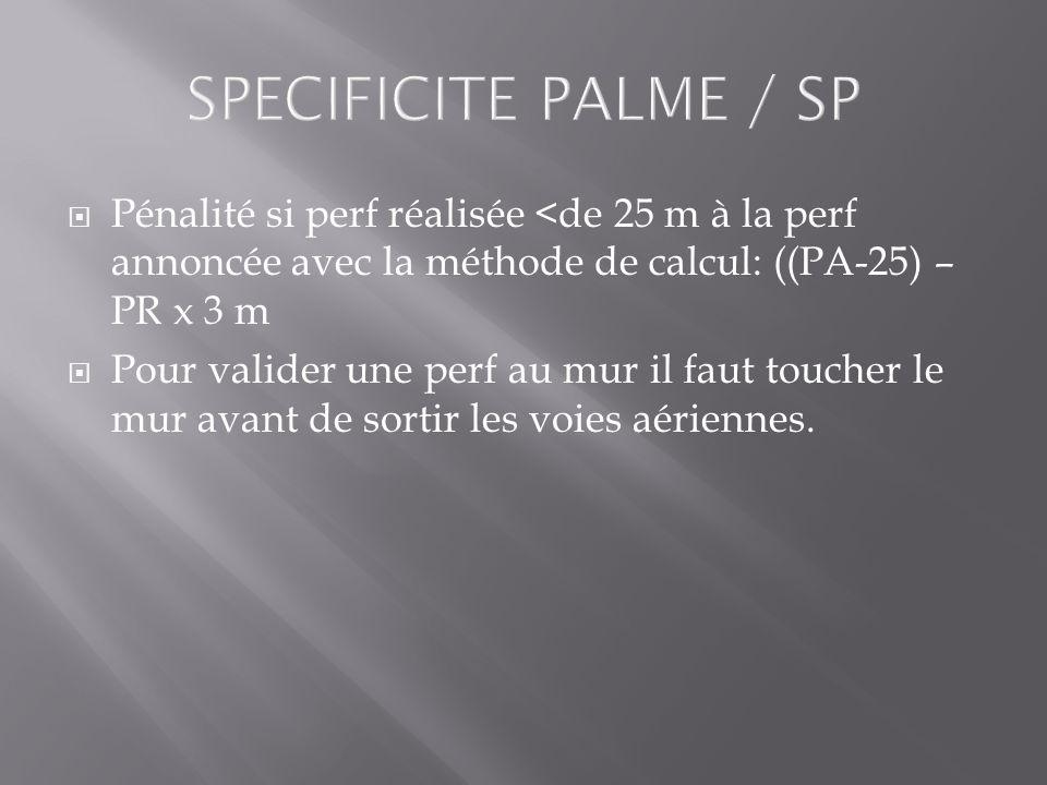 SPECIFICITE PALME / SP Pénalité si perf réalisée <de 25 m à la perf annoncée avec la méthode de calcul: ((PA-25) – PR x 3 m Pour valider une perf au m