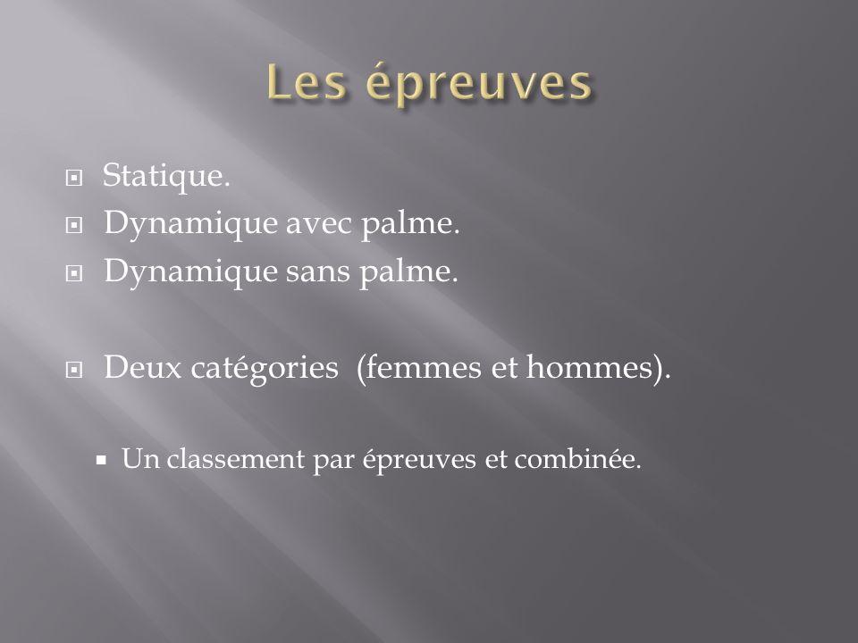 Statique. Dynamique avec palme. Dynamique sans palme. Deux catégories (femmes et hommes). Un classement par épreuves et combinée.