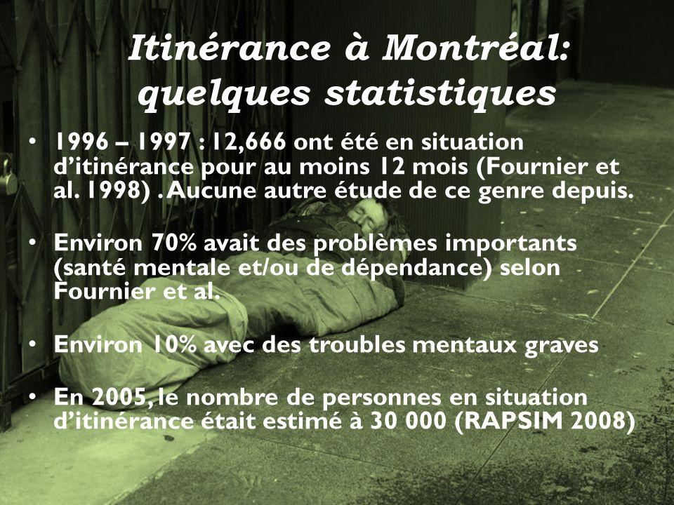 7 Itinérance à Montréal: quelques statistiques 1996 – 1997 : 12,666 ont été en situation ditinérance pour au moins 12 mois (Fournier et al.