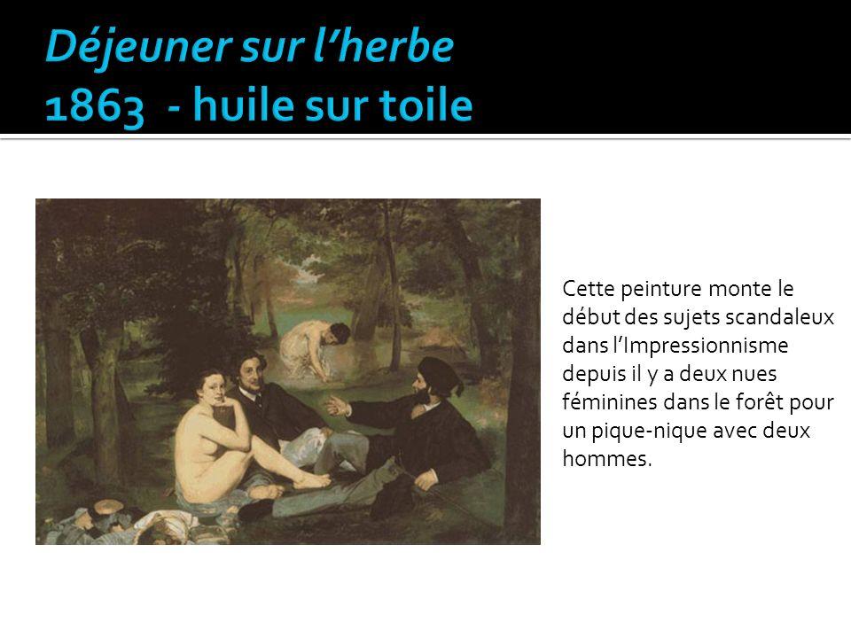 Cette peinture monte le début des sujets scandaleux dans lImpressionnisme depuis il y a deux nues féminines dans le forêt pour un pique-nique avec deu