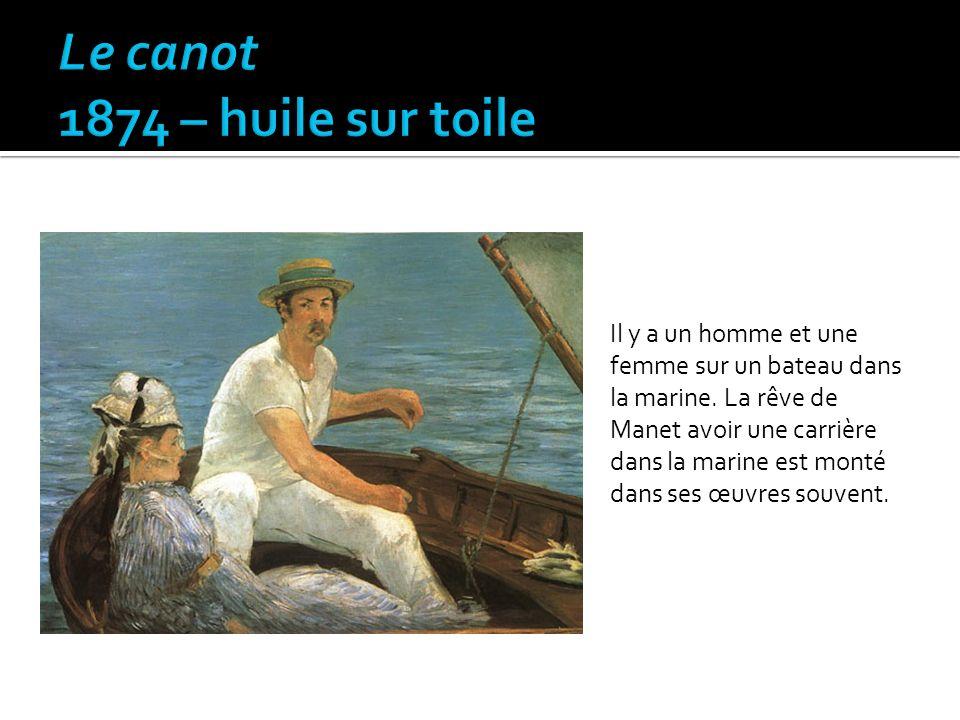 Il y a un homme et une femme sur un bateau dans la marine. La rêve de Manet avoir une carrière dans la marine est monté dans ses œuvres souvent.