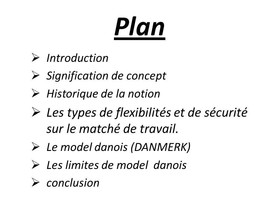 Plan Introduction Signification de concept Historique de la notion Les types de flexibilités et de sécurité sur le matché de travail.