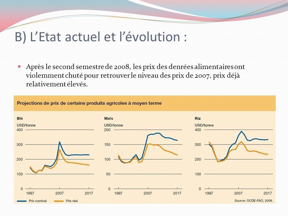 B) LEtat actuel et lévolution : Après le second semestre de 2008, les prix des denrées alimentaires ont violemment chuté pour retrouver le niveau des prix de 2007, prix déjà relativement élevés.