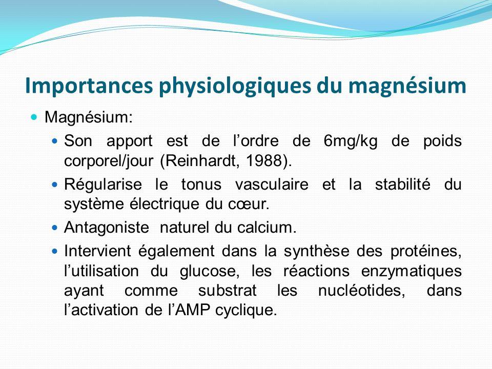 Importances physiologiques du magnésium Magnésium: Son apport est de lordre de 6mg/kg de poids corporel/jour (Reinhardt, 1988). Régularise le tonus va