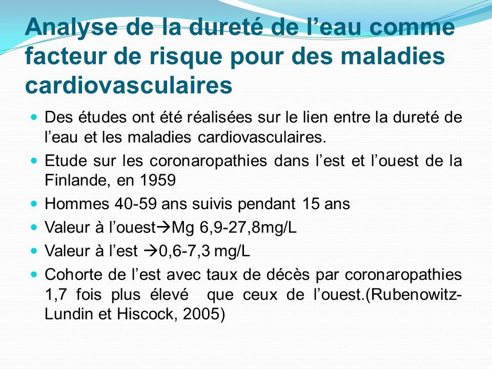 Analyse de la dureté de leau comme facteur de risque pour des maladies cardiovasculaires Des études ont été réalisées sur le lien entre la dureté de l
