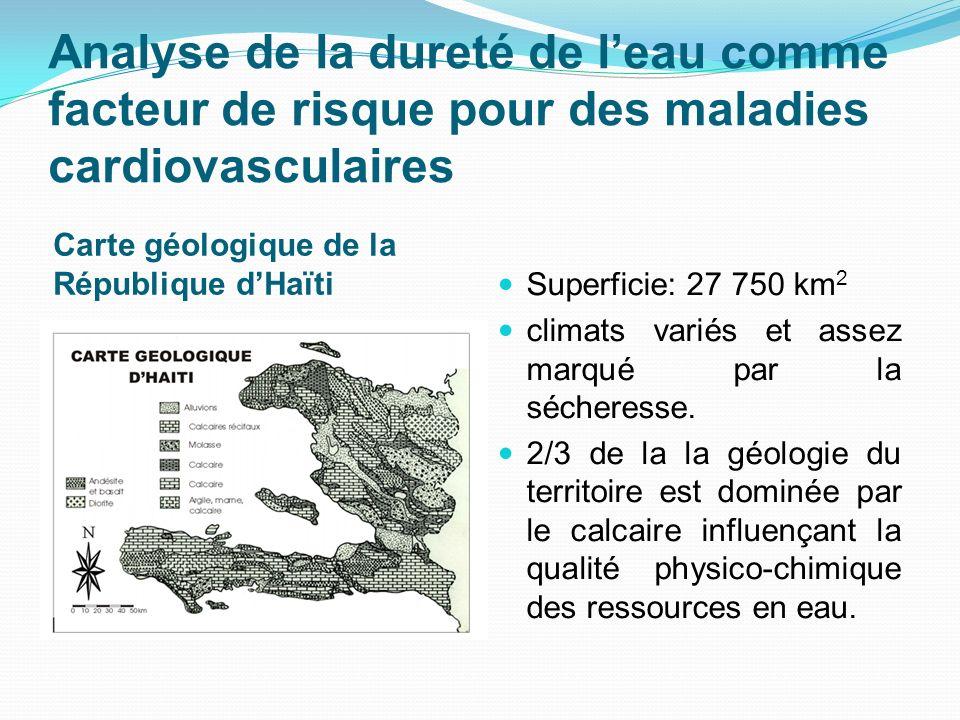 Analyse de la dureté de leau comme facteur de risque pour des maladies cardiovasculaires Carte géologique de la République dHaïti Superficie: 27 750 k