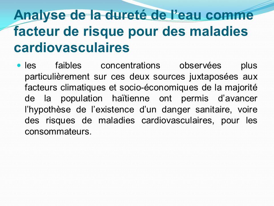Analyse de la dureté de leau comme facteur de risque pour des maladies cardiovasculaires les faibles concentrations observées plus particulièrement su