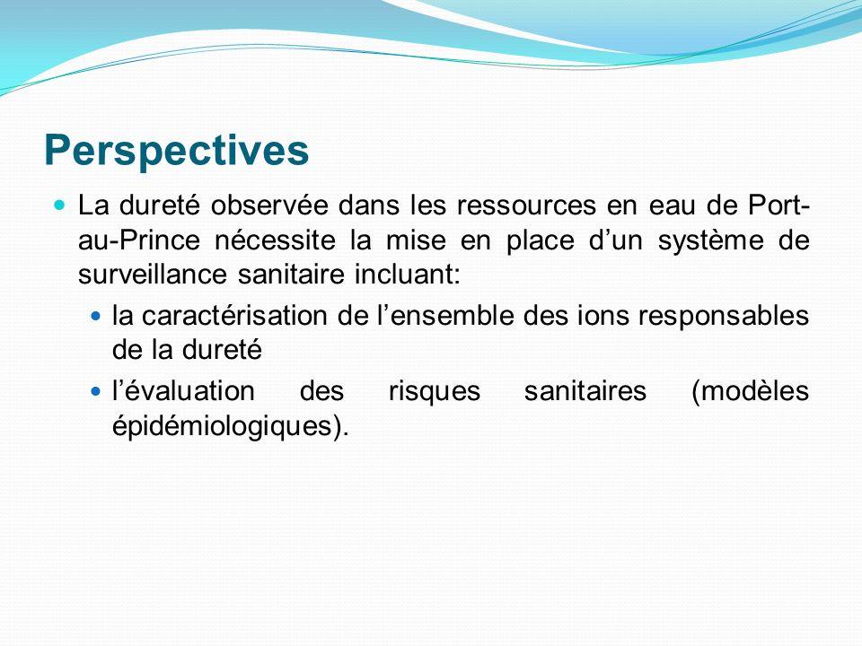 Perspectives La dureté observée dans les ressources en eau de Port- au-Prince nécessite la mise en place dun système de surveillance sanitaire incluan