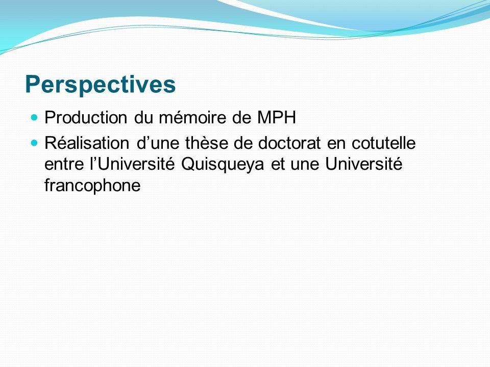 Perspectives Production du mémoire de MPH Réalisation dune thèse de doctorat en cotutelle entre lUniversité Quisqueya et une Université francophone