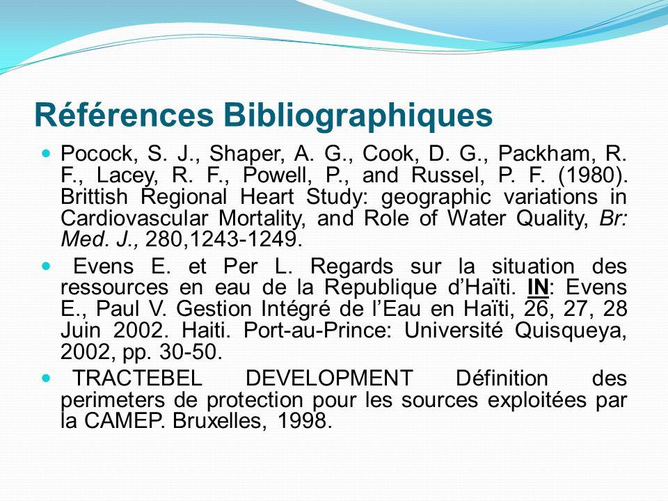 Références Bibliographiques Pocock, S. J., Shaper, A. G., Cook, D. G., Packham, R. F., Lacey, R. F., Powell, P., and Russel, P. F. (1980). Brittish Re