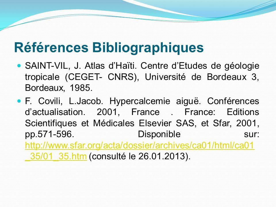 Références Bibliographiques SAINT-VIL, J. Atlas dHaïti. Centre dEtudes de géologie tropicale (CEGET- CNRS), Université de Bordeaux 3, Bordeaux, 1985.
