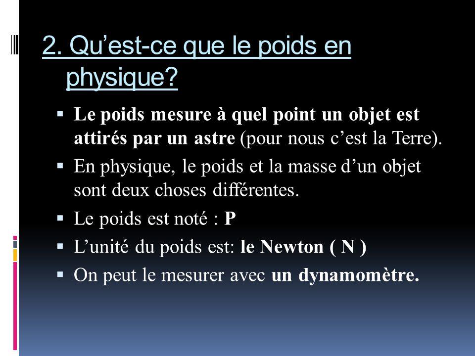 2. Quest-ce que le poids en physique? Le poids mesure à quel point un objet est attirés par un astre (pour nous cest la Terre). En physique, le poids