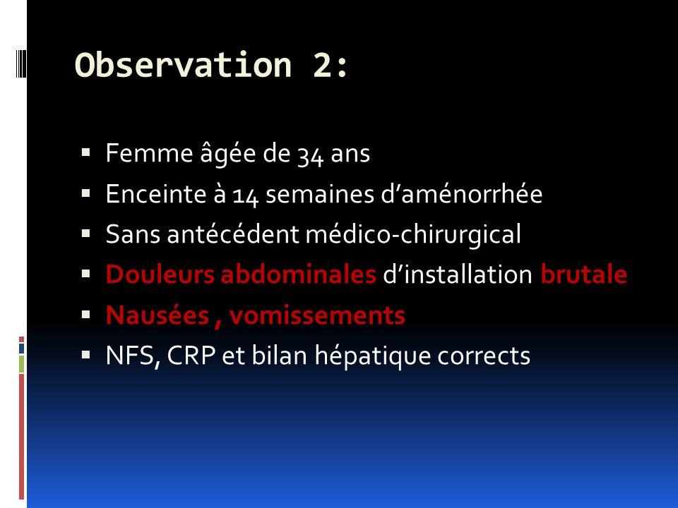Observation 2: Femme âgée de 34 ans Enceinte à 14 semaines daménorrhée Sans antécédent médico-chirurgical Douleurs abdominales dinstallation brutale Nausées, vomissements NFS, CRP et bilan hépatique corrects