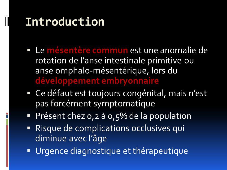 Introduction Le mésentère commun est une anomalie de rotation de lanse intestinale primitive ou anse omphalo-mésentérique, lors du développement embryonnaire Ce défaut est toujours congénital, mais nest pas forcément symptomatique Présent chez 0,2 à 0,5% de la population Risque de complications occlusives qui diminue avec lâge Urgence diagnostique et thérapeutique