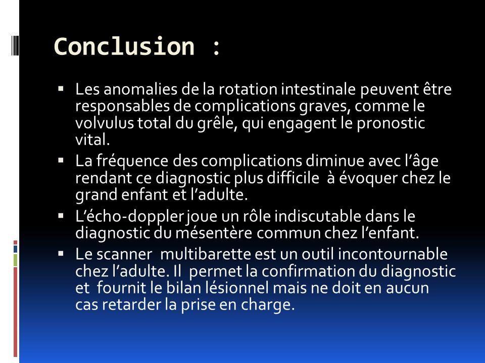 Conclusion : Les anomalies de la rotation intestinale peuvent être responsables de complications graves, comme le volvulus total du grêle, qui engagent le pronostic vital.