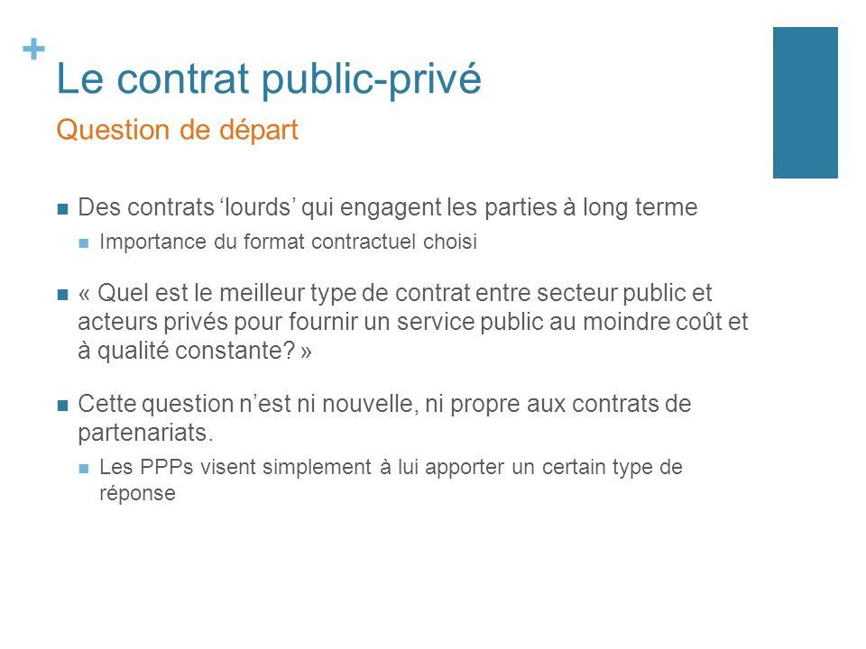+ Le contrat public-privé Des contrats lourds qui engagent les parties à long terme Importance du format contractuel choisi « Quel est le meilleur type de contrat entre secteur public et acteurs privés pour fournir un service public au moindre coût et à qualité constante.