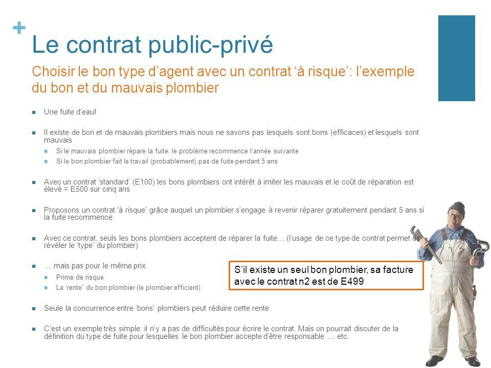 + Le contrat public-privé Une fuite deau.