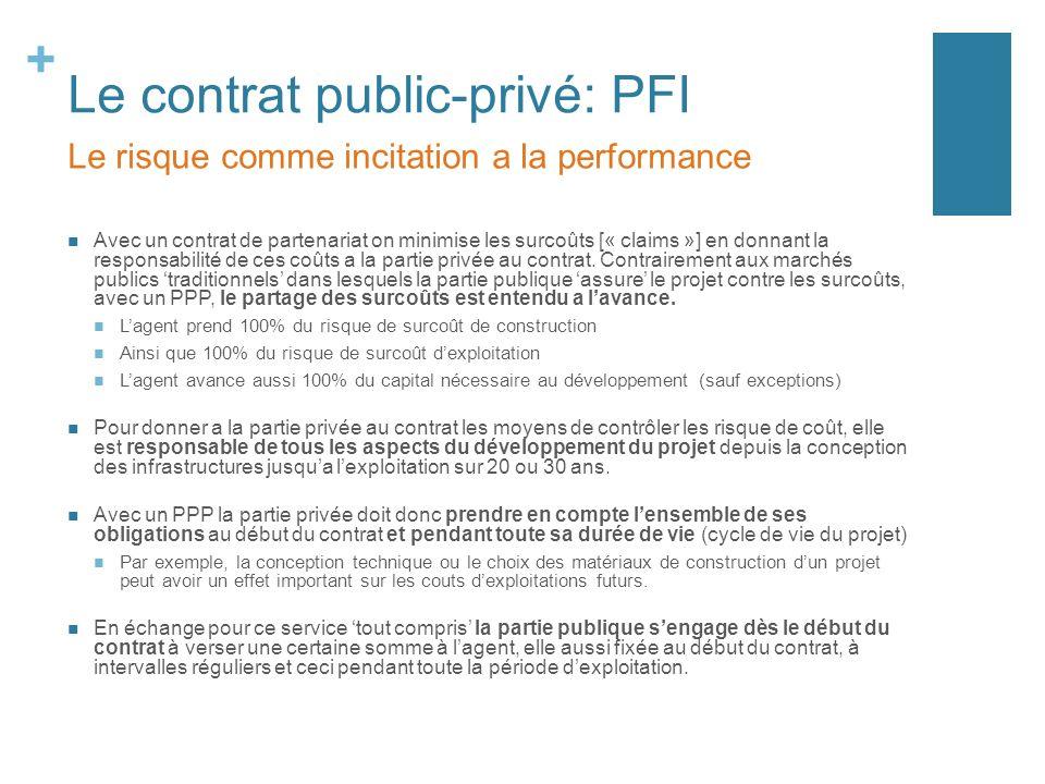 + Le contrat public-privé: PFI Avec un contrat de partenariat on minimise les surcoûts [« claims »] en donnant la responsabilité de ces coûts a la partie privée au contrat.