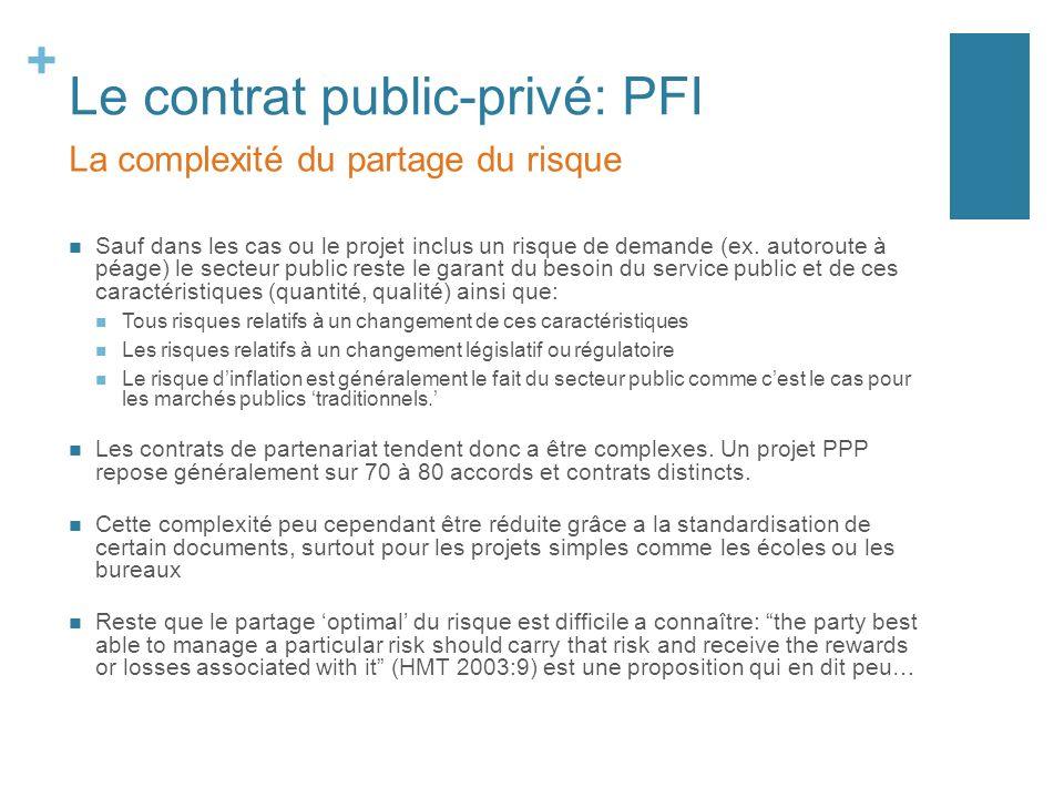 + Le contrat public-privé: PFI Sauf dans les cas ou le projet inclus un risque de demande (ex.
