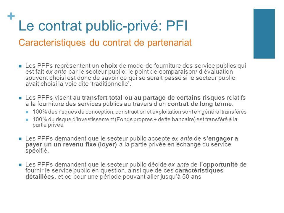+ Le contrat public-privé: PFI Les PPPs représentent un choix de mode de fourniture des service publics qui est fait ex ante par le secteur public: le point de comparaison/ dévaluation souvent choisi est donc de savoir ce qui se serait passé si le secteur public avait choisi la voie dite traditionnelle.