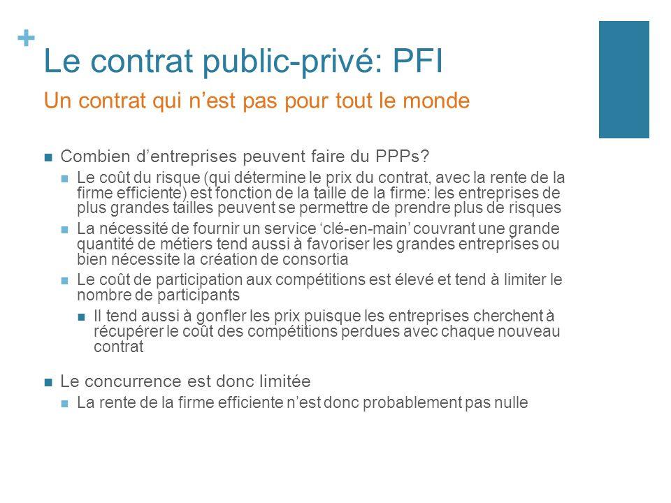 + Le contrat public-privé: PFI Combien dentreprises peuvent faire du PPPs.