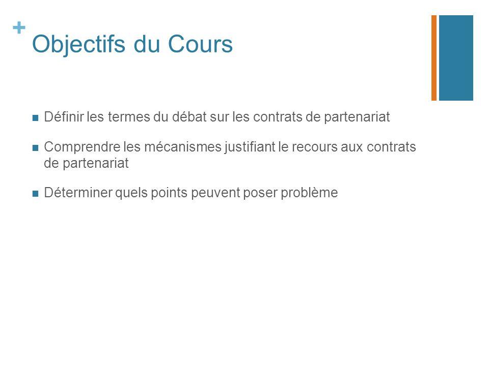 + Objectifs du Cours Définir les termes du débat sur les contrats de partenariat Comprendre les mécanismes justifiant le recours aux contrats de partenariat Déterminer quels points peuvent poser problème