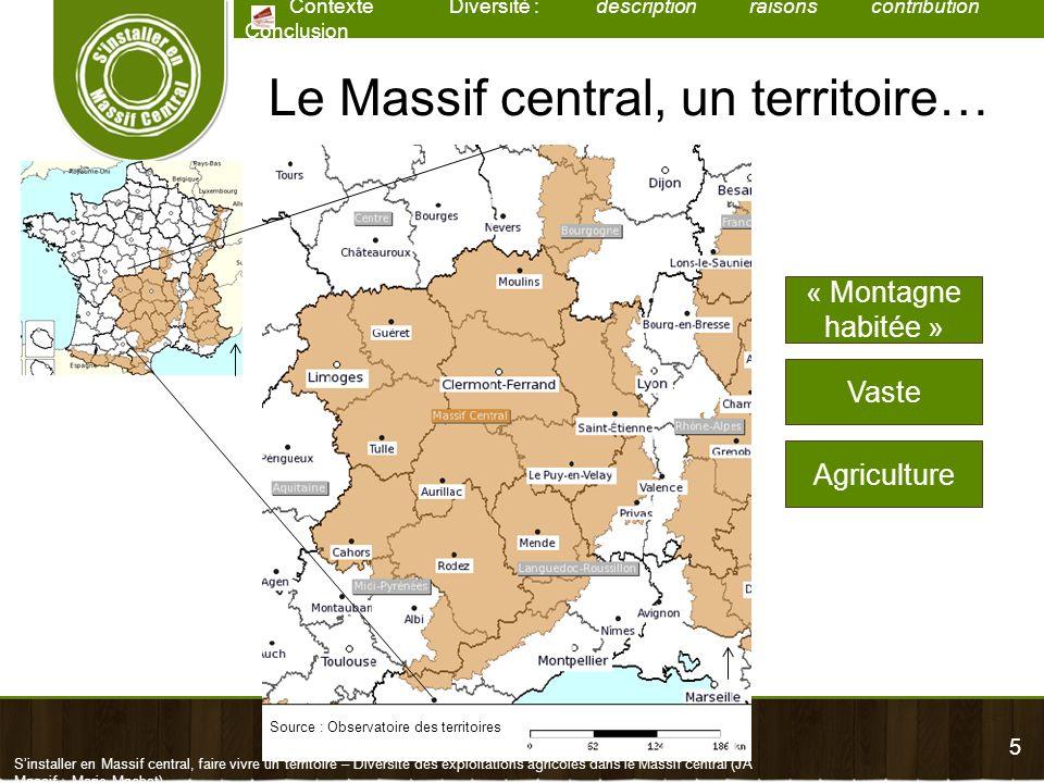 5 Contexte Diversité : description raisons contribution Conclusion Sinstaller en Massif central, faire vivre un territoire – Diversité des exploitatio