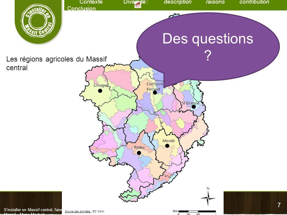7 Contexte Diversité : description raisons contribution Conclusion Sinstaller en Massif central, faire vivre un territoire – Diversité des exploitatio