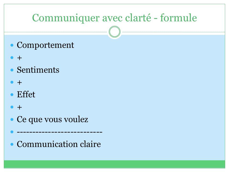 Communiquer avec clarté - formule Comportement + Sentiments + Effet + Ce que vous voulez --------------------------- Communication claire