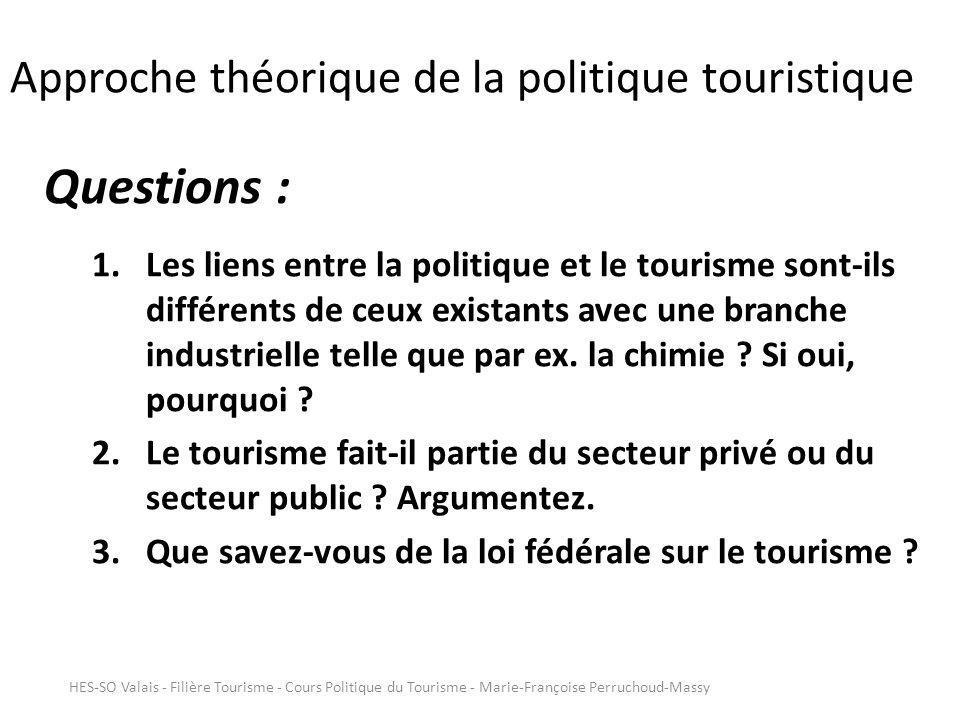 Approche théorique de la politique touristique Questions : 1.Les liens entre la politique et le tourisme sont-ils différents de ceux existants avec une branche industrielle telle que par ex.