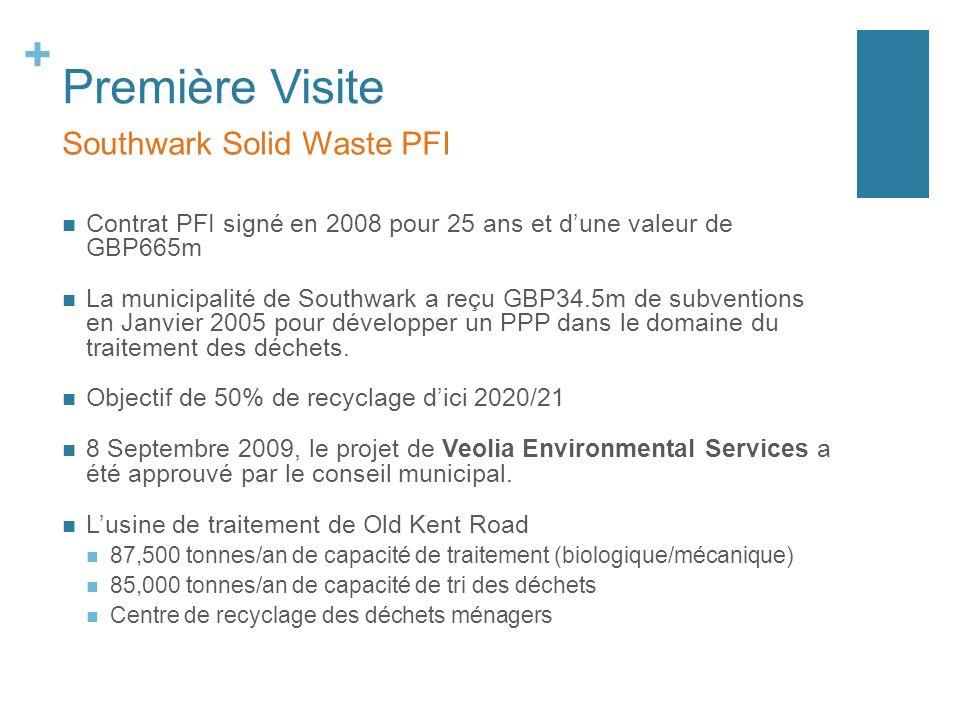 + Première Visite Southwark Solid Waste PFI Contrat PFI signé en 2008 pour 25 ans et dune valeur de GBP665m La municipalité de Southwark a reçu GBP34.5m de subventions en Janvier 2005 pour développer un PPP dans le domaine du traitement des déchets.