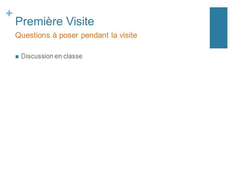 + Première Visite Questions à poser pendant la visite Discussion en classe