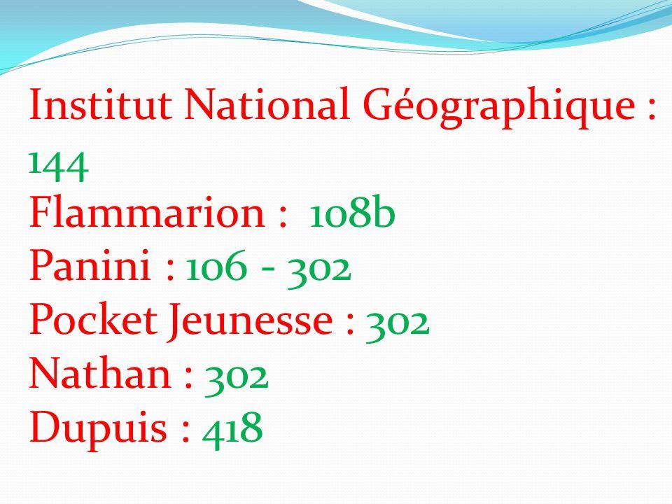 Institut National Géographique : 144 Flammarion : 108b Panini : 106 - 302 Pocket Jeunesse : 302 Nathan : 302 Dupuis : 418