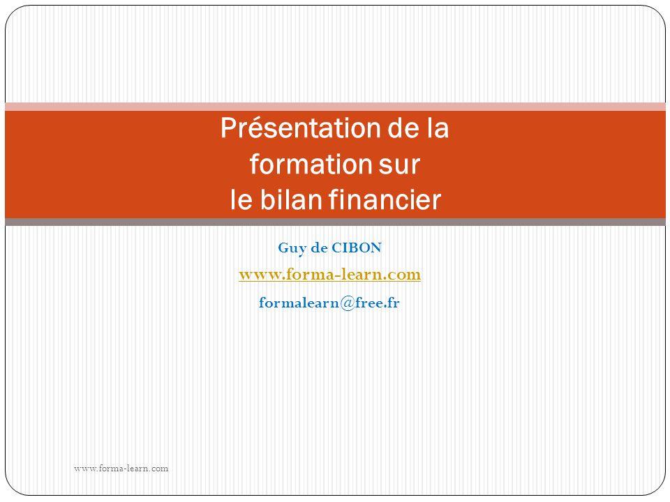 Guy de CIBON www.forma-learn.com formalearn@free.fr Présentation de la formation sur le bilan financier www.forma-learn.com