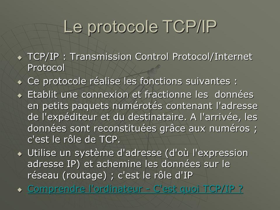 Le protocole TCP/IP TCP/IP : Transmission Control Protocol/Internet Protocol TCP/IP : Transmission Control Protocol/Internet Protocol Ce protocole réa