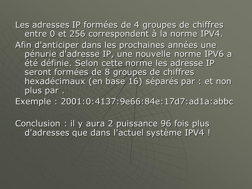 Les adresses IP formées de 4 groupes de chiffres entre 0 et 256 correspondent à la norme IPV4. Afin d'anticiper dans les prochaines années une pénurie