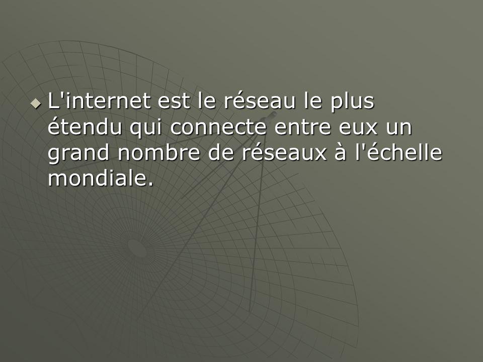 L'internet est le réseau le plus étendu qui connecte entre eux un grand nombre de réseaux à l'échelle mondiale. L'internet est le réseau le plus étend