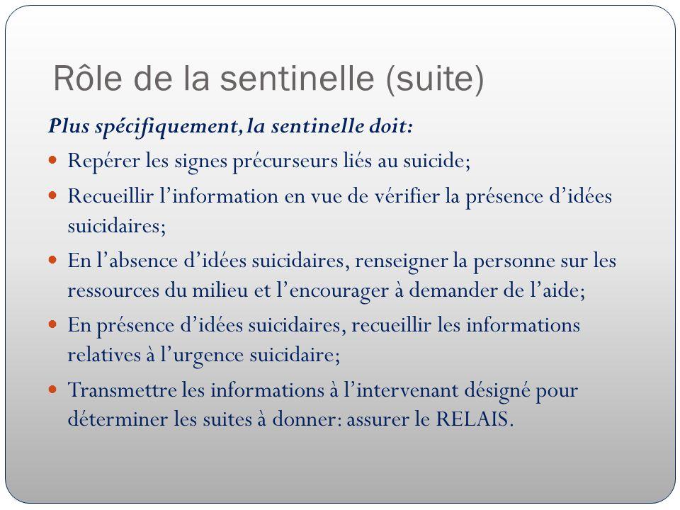 Rôle de la sentinelle (suite) Plus spécifiquement, la sentinelle doit: Repérer les signes précurseurs liés au suicide; Recueillir linformation en vue de vérifier la présence didées suicidaires; En labsence didées suicidaires, renseigner la personne sur les ressources du milieu et lencourager à demander de laide; En présence didées suicidaires, recueillir les informations relatives à lurgence suicidaire; Transmettre les informations à lintervenant désigné pour déterminer les suites à donner: assurer le RELAIS.